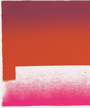 Rupprecht Geiger, Detail aus WVG 59-2 'leuchtrot - dunkelrot (Farbkorn verrutscht)', 1964, Serigrafie/Römerturm-Bütten, 300g mit Büttenrand, 42,5 x 59,5 cm